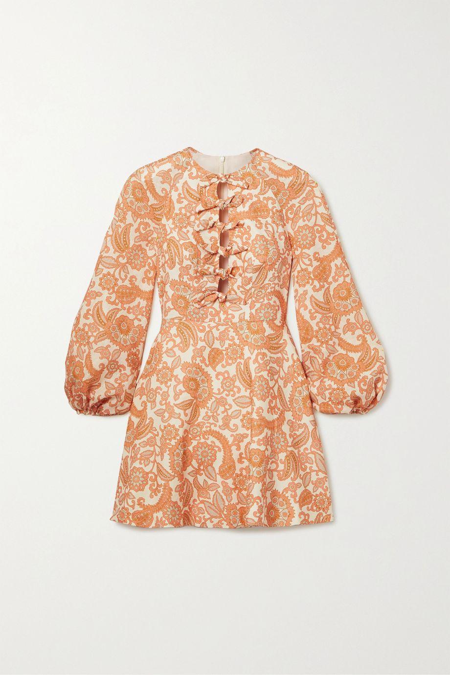 Zimmermann Peggy tie-detailed paisley-print linen mini dress