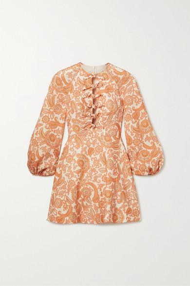 Peggy Tie Detailed Paisley Print Linen Mini Dress by Zimmermann