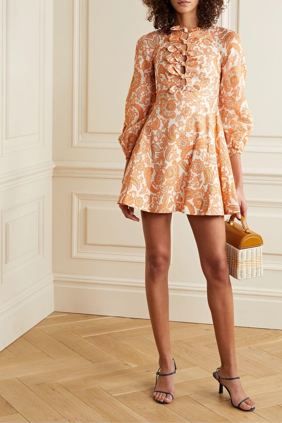 Zimmermann Mini-robe en lin à imprimé cachemire et à nœuds Peggy