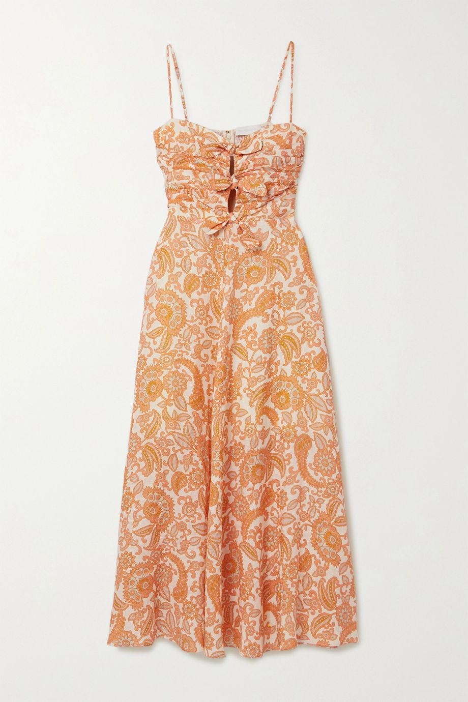 Zimmermann Peggy tie-detailed paisley-print linen midi dress