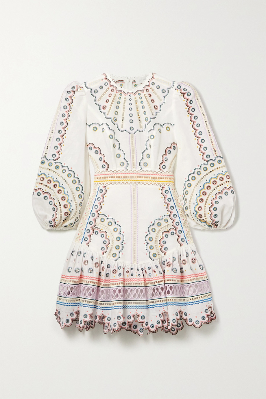 Zimmermann | Peggy broderie anglaise linen and cotton-blend mini dress | NET-A-PORTER.COM