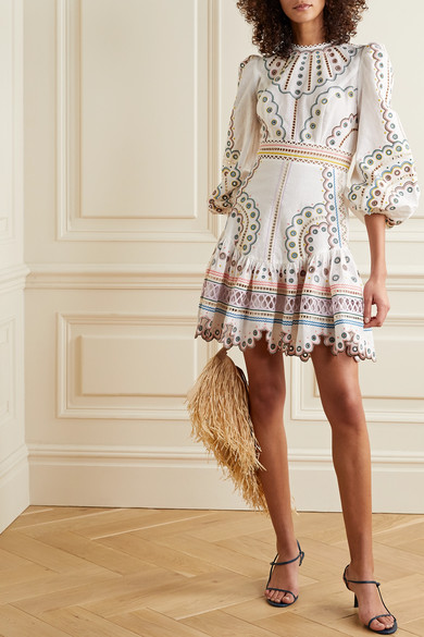 Peggy Broderie Anglaise Linen And Cotton Blend Mini Dress by Zimmermann