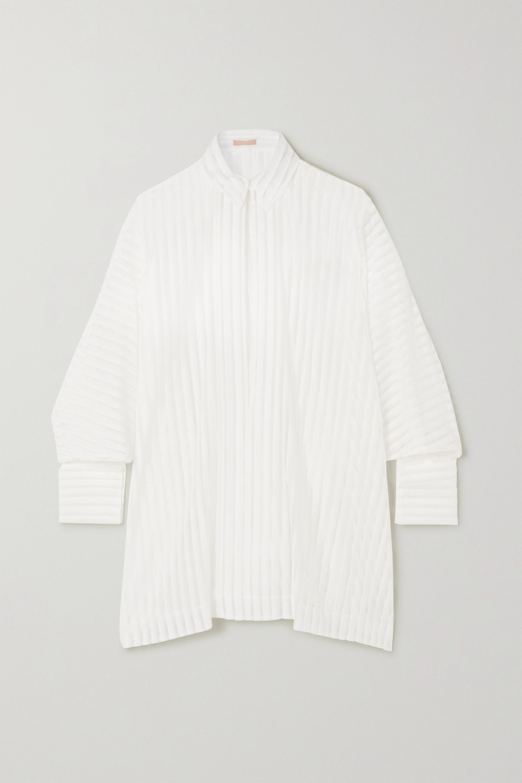 Alaïa Gestreifte Oversized-Bluse aus Tüll aus einer Baumwollmischung und Spitze