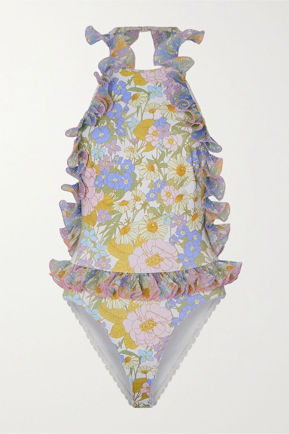 Zimmermann Super Eight ruffled scalloped floral-print swimsuit