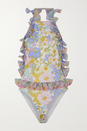 Zimmermann Super Eight ruffled scalloped floral-print swimsuit