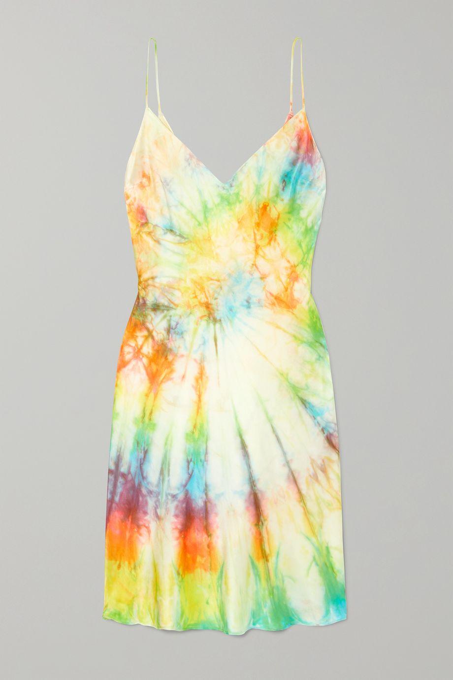 DANNIJO Tie-dyed silk-satin mini dress