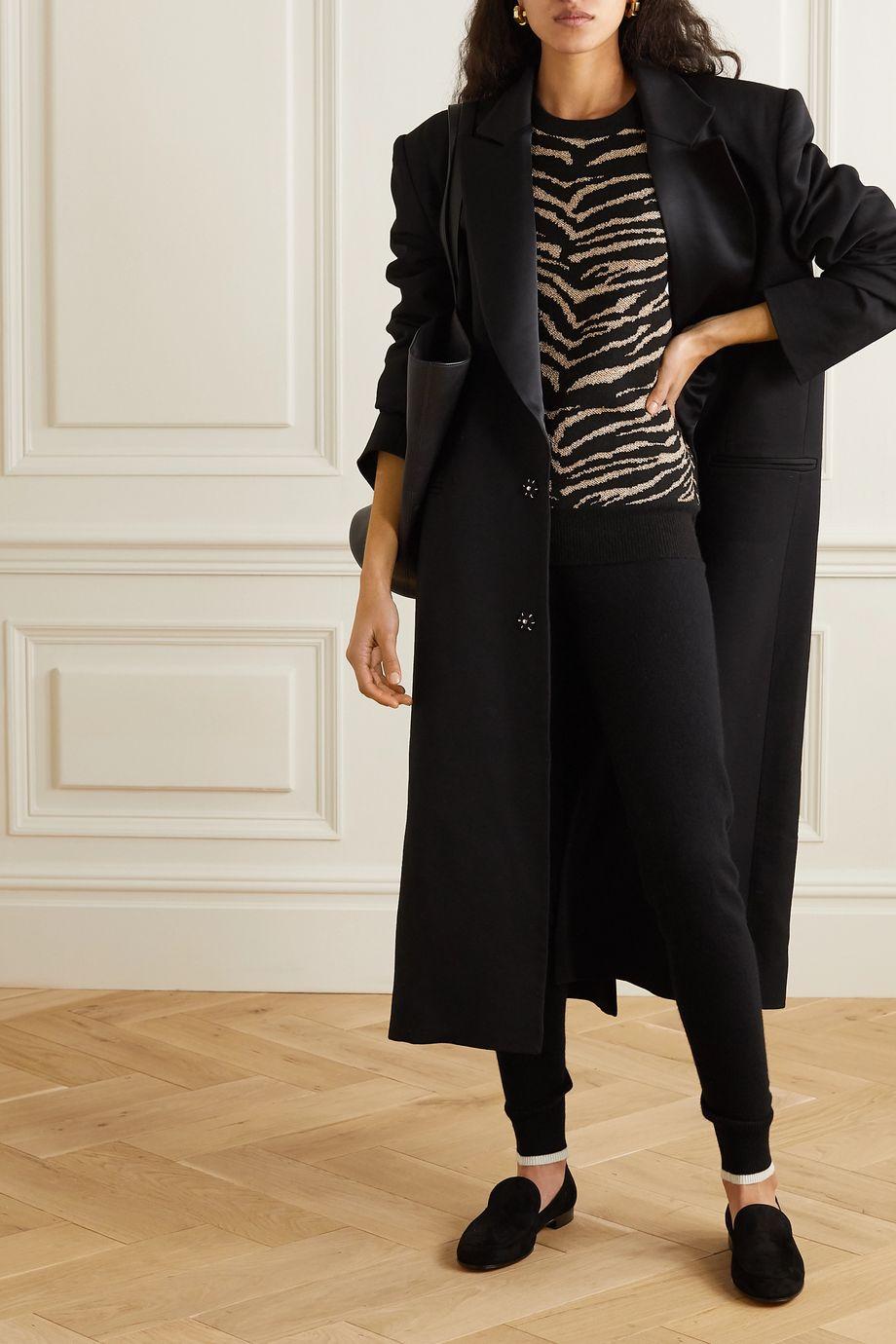 Madeleine Thompson Juno metallic tiger-intarsia wool and cashmere-blend sweater