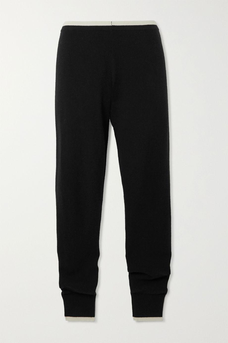 Madeleine Thompson Plutus two-tone cashmere slim-fit track pants