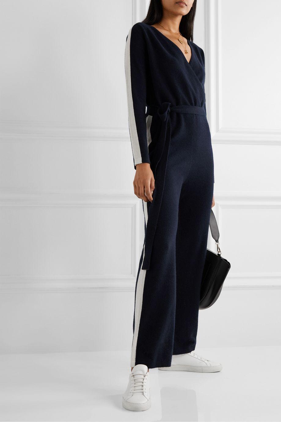Madeleine Thompson Ajax wrap-effect striped cashmere jumpsuit