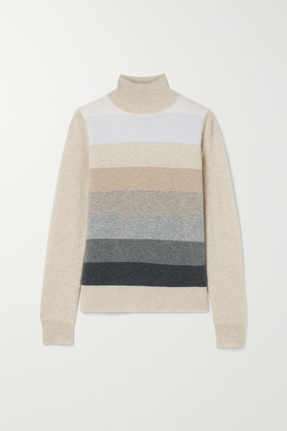 Madeleine Thompson Diana striped cashmere turtleneck sweater