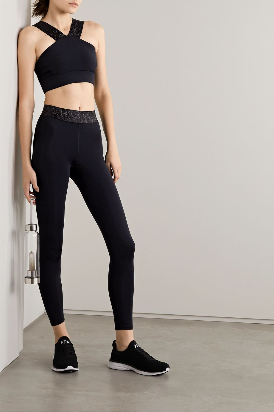 Heroine Sport Twilight stretch and Lurex leggings