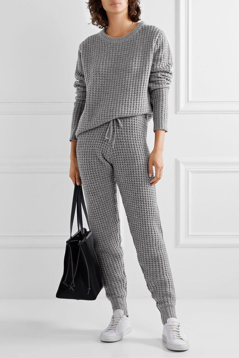 Madeleine Thompson Pantalon de survêtement en laine et cachemire mélangés à mailles gaufrées Oceanus