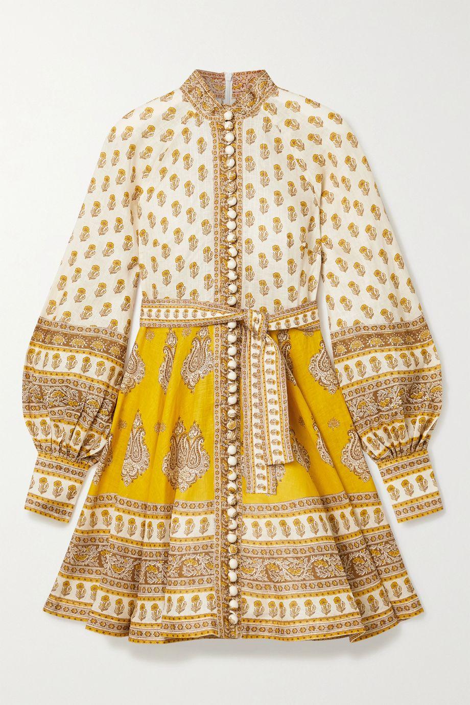 Zimmermann Mini-robe en lin à imprimé cachemire Bonita