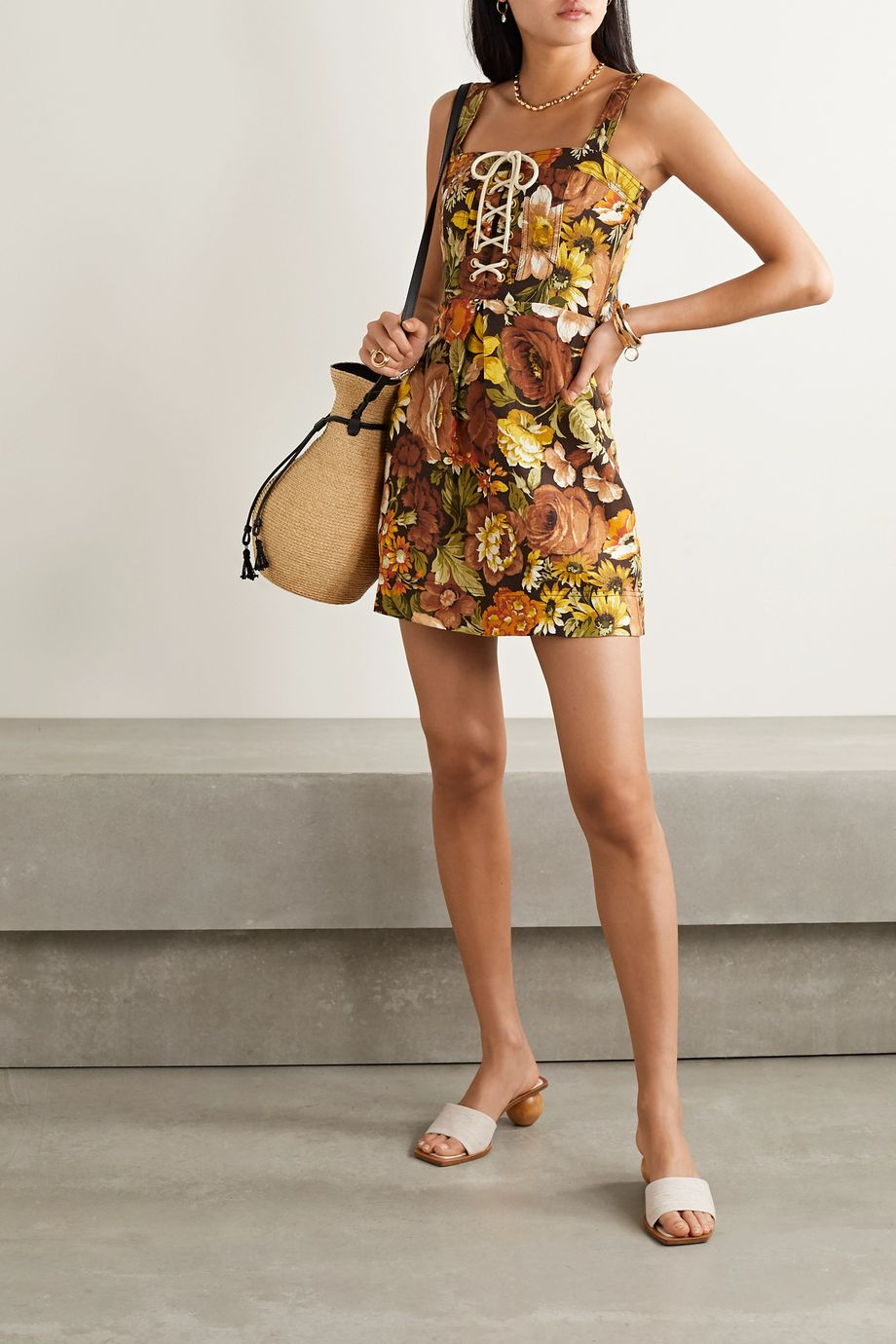 Zimmermann Mini-robe en lin à imprimé fleuri et à lacets Bonita