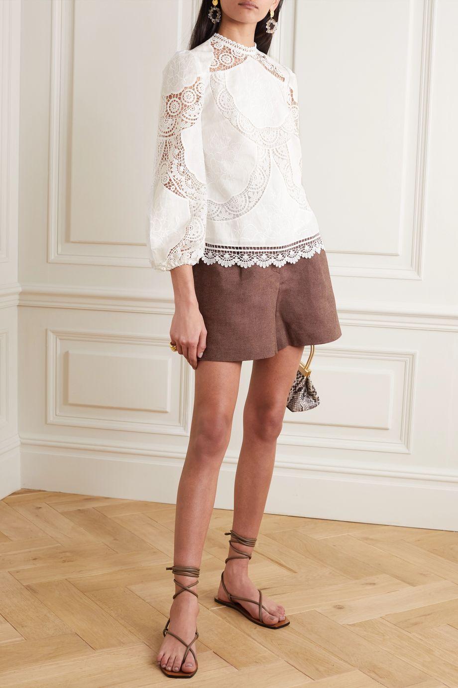 Zimmermann Benita broderie anglaise linen and cotton-blend top