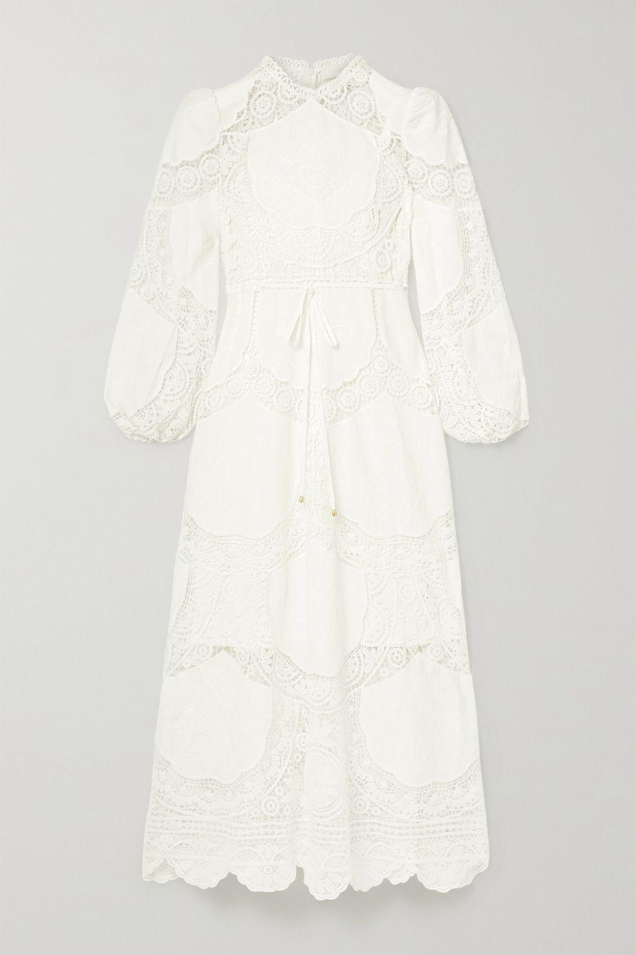Zimmermann Robe midi en lin et coton mélangés à broderies et à finitions en crochet Bonita
