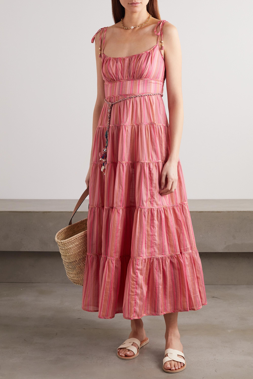 Pink Bonita embellished striped tiered cotton-voile midi dress ...