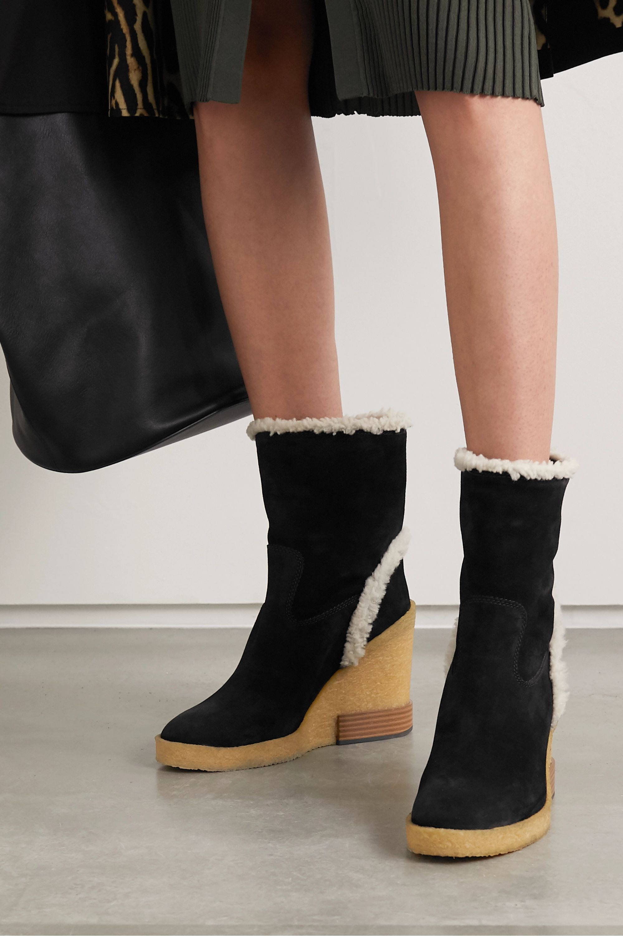 Black Shearling-trimmed suede wedge