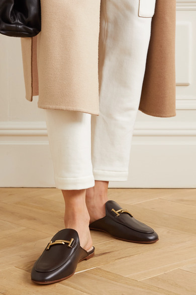 Cuoio Embellished Leather Slippers by Tod's