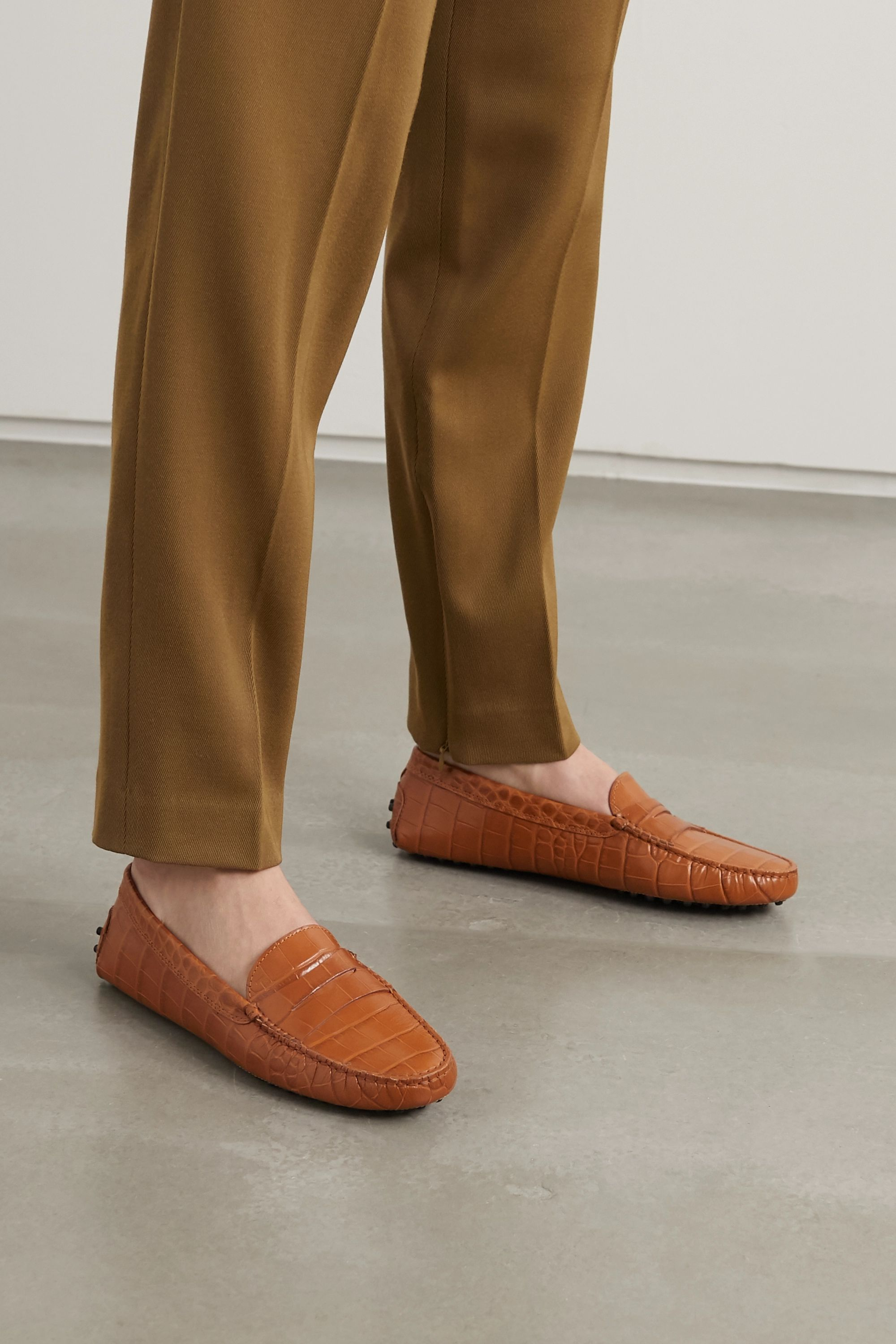 Tan Gommino croc-effect leather loafers