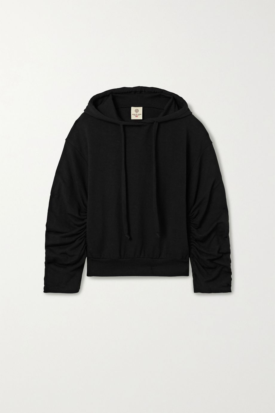Year of Ours Ruched stretch modal and cotton-blend hoodie