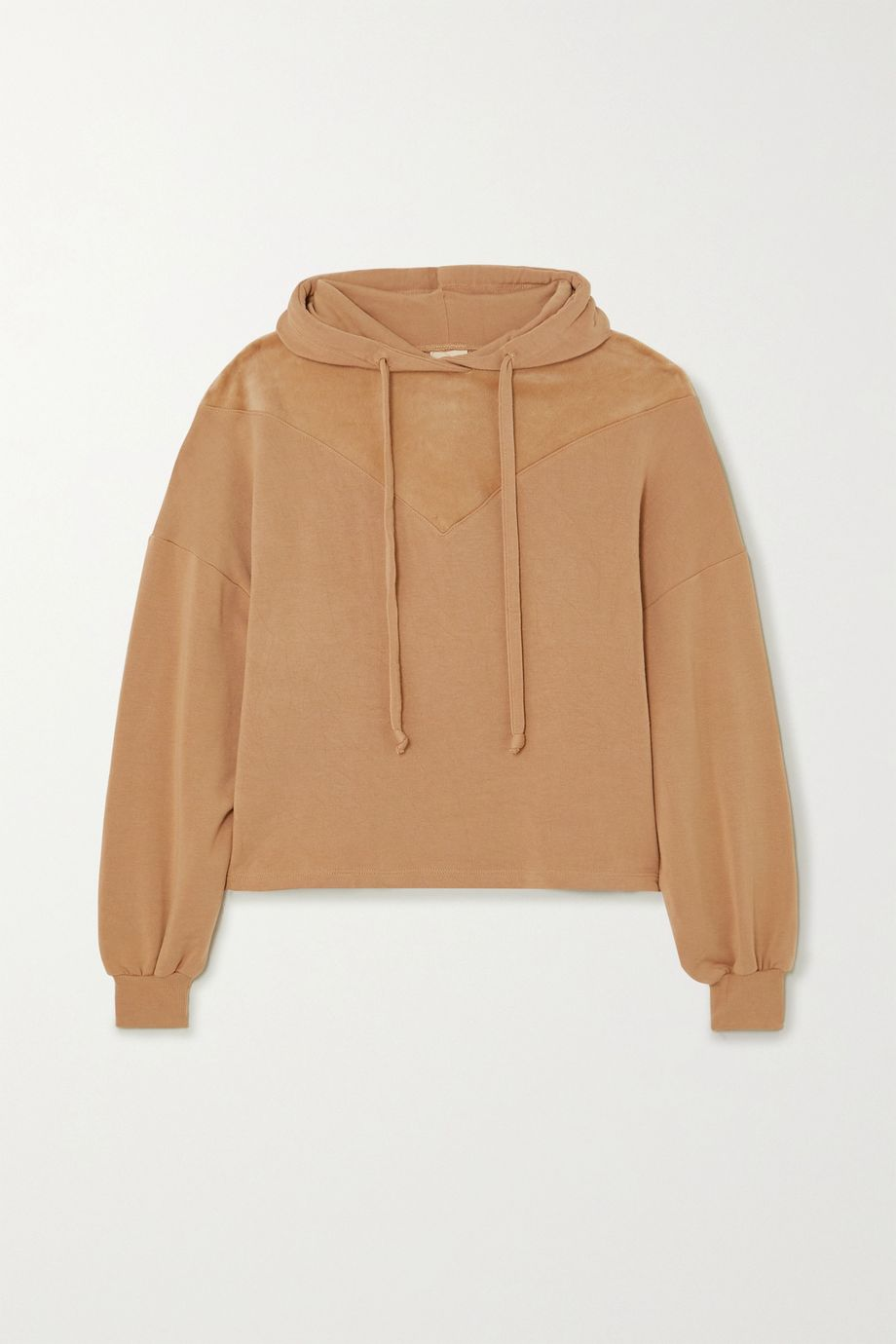 Year of Ours Paneled modal-blend and velour hoodie