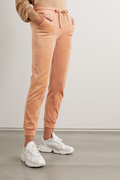 Cotton-blend velour track pants