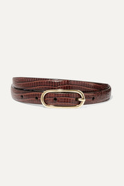 Lizard-effect leather belt