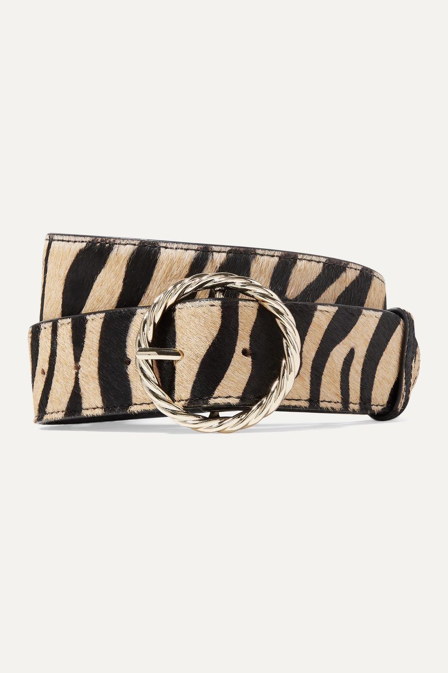 Loeffler Randall Leo tiger-print calf hair belt