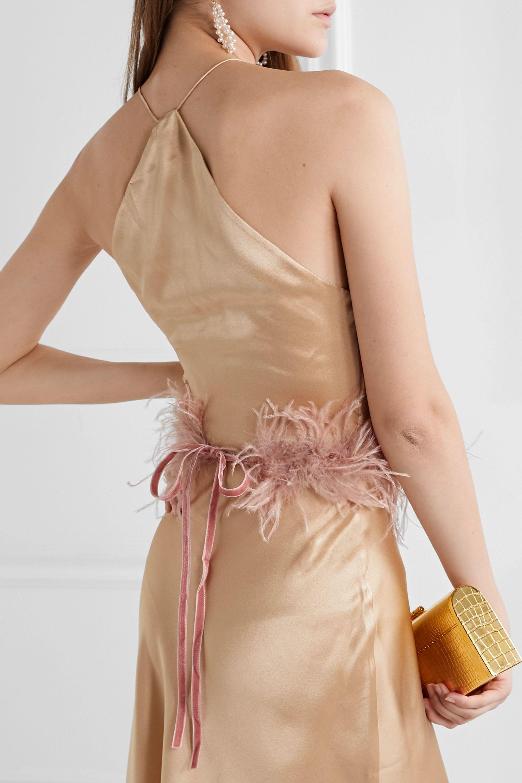 Loeffler Randall Valentine feather-embellished velvet belt