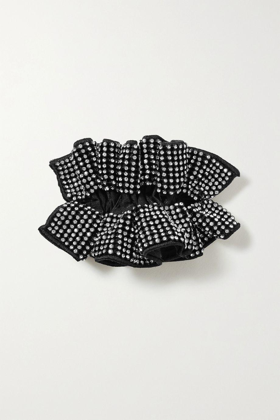 Loeffler Randall Luna ruffled crystal-embellished grosgrain hair clip