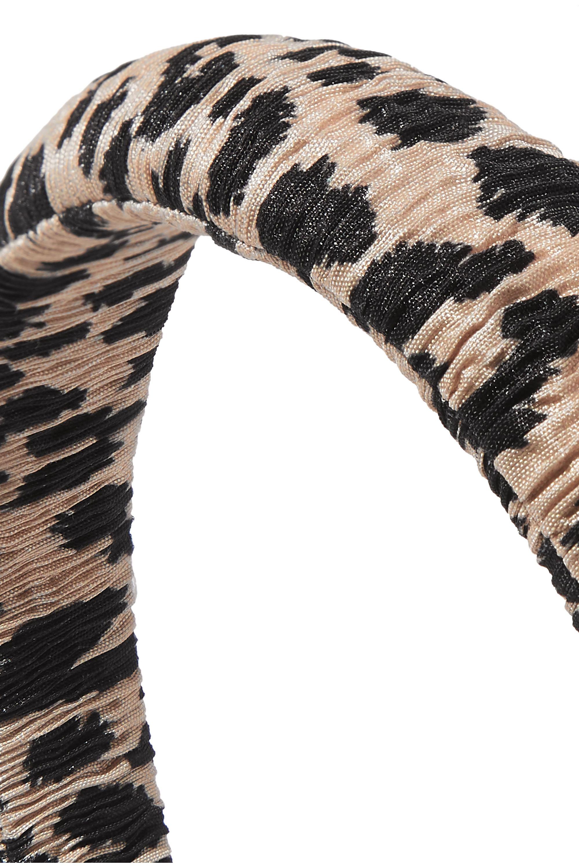 Loeffler Randall Marina leopard-print plissé-lamé headband
