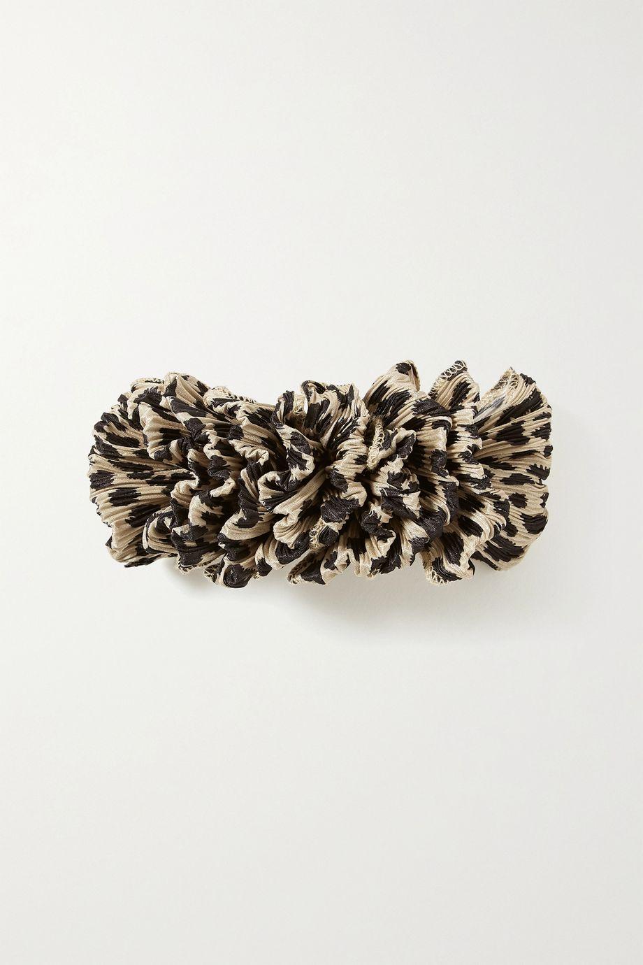Loeffler Randall Tavi leopard-print plissé-satin hair clip