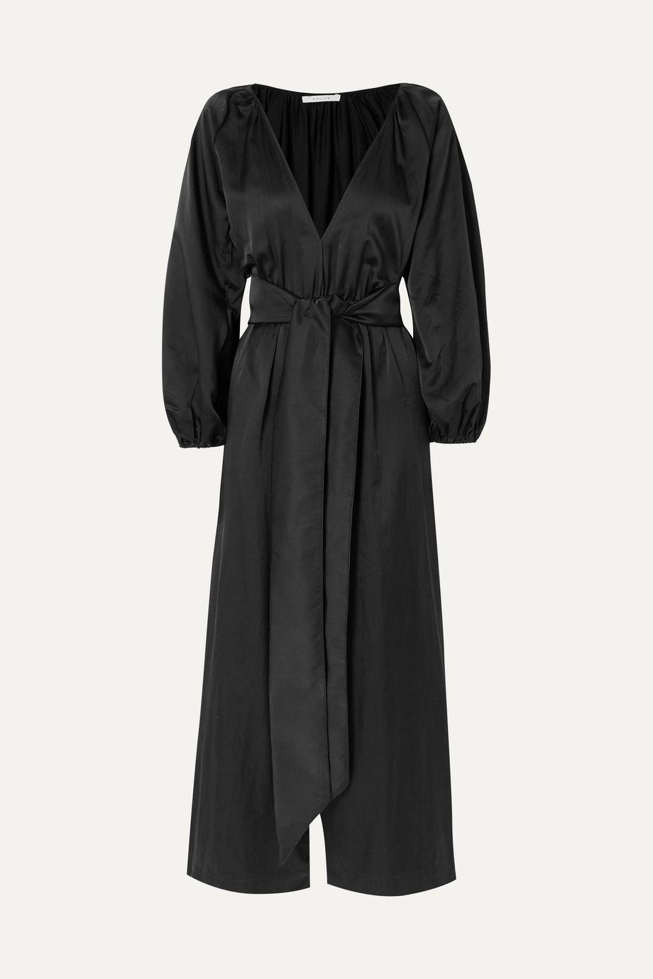 Kalita Venus belted silk and cotton-blend habotai jumpsuit
