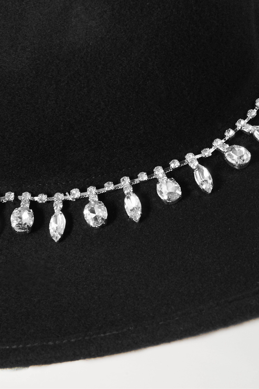 CLYDE Midnight crystal-embellished wool-felt fedora
