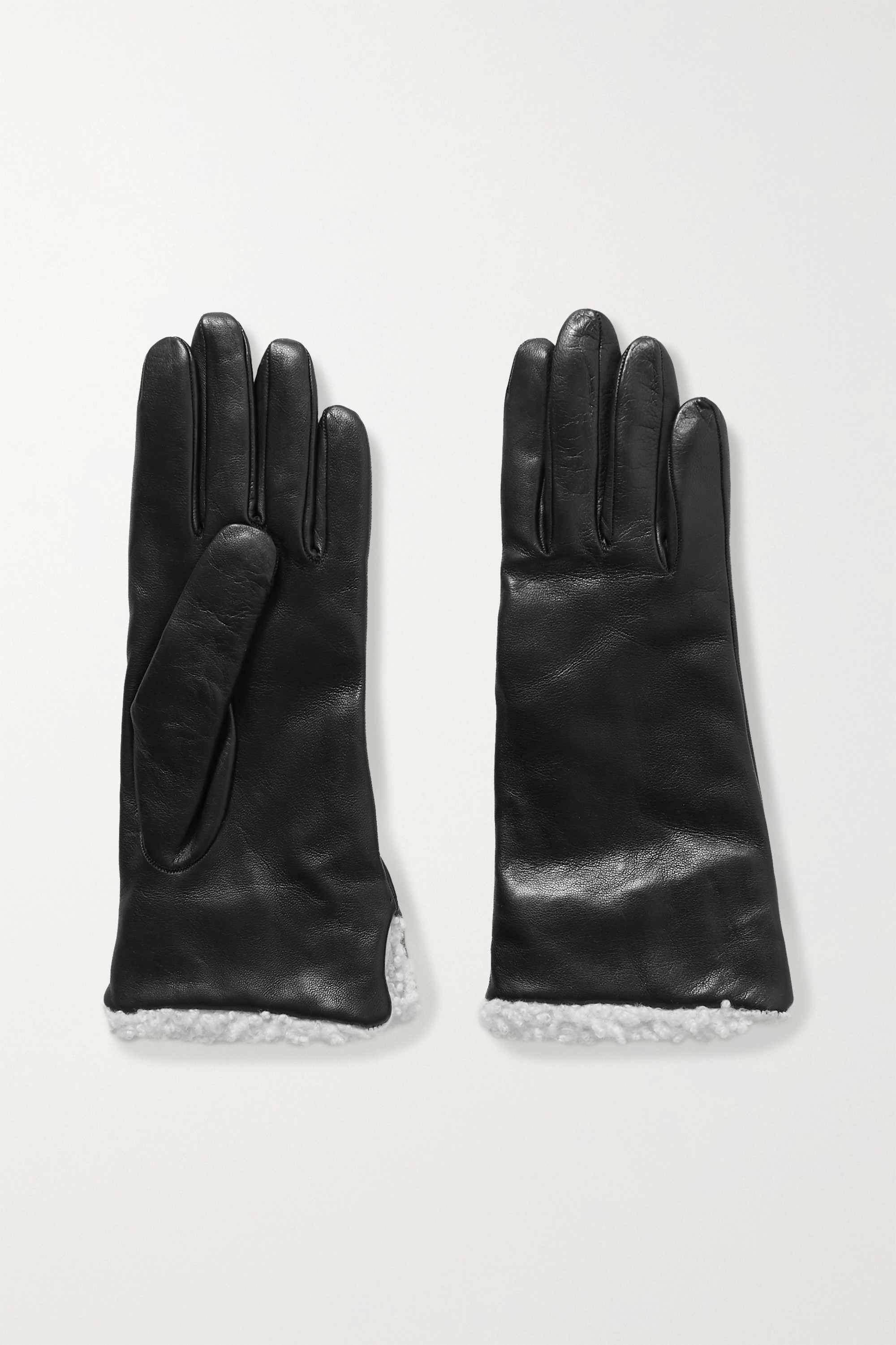 CLYDE Shearling-trimmed leather gloves