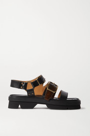 Dries Van Noten Two-tone smooth and patent-leather platform sandals