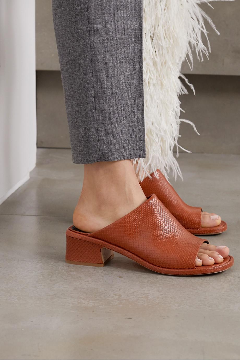 Dries Van Noten Lizard-effect leather mules