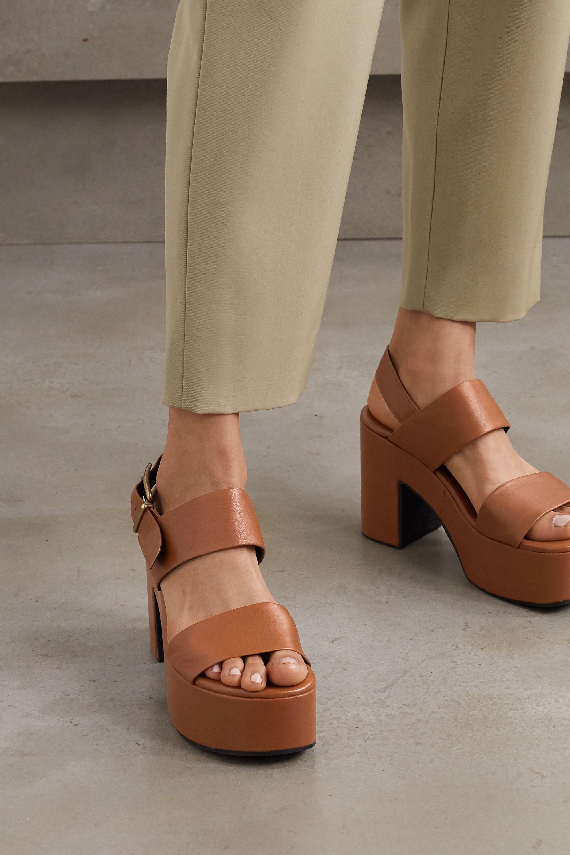 Tan Leather platform sandals   Dries