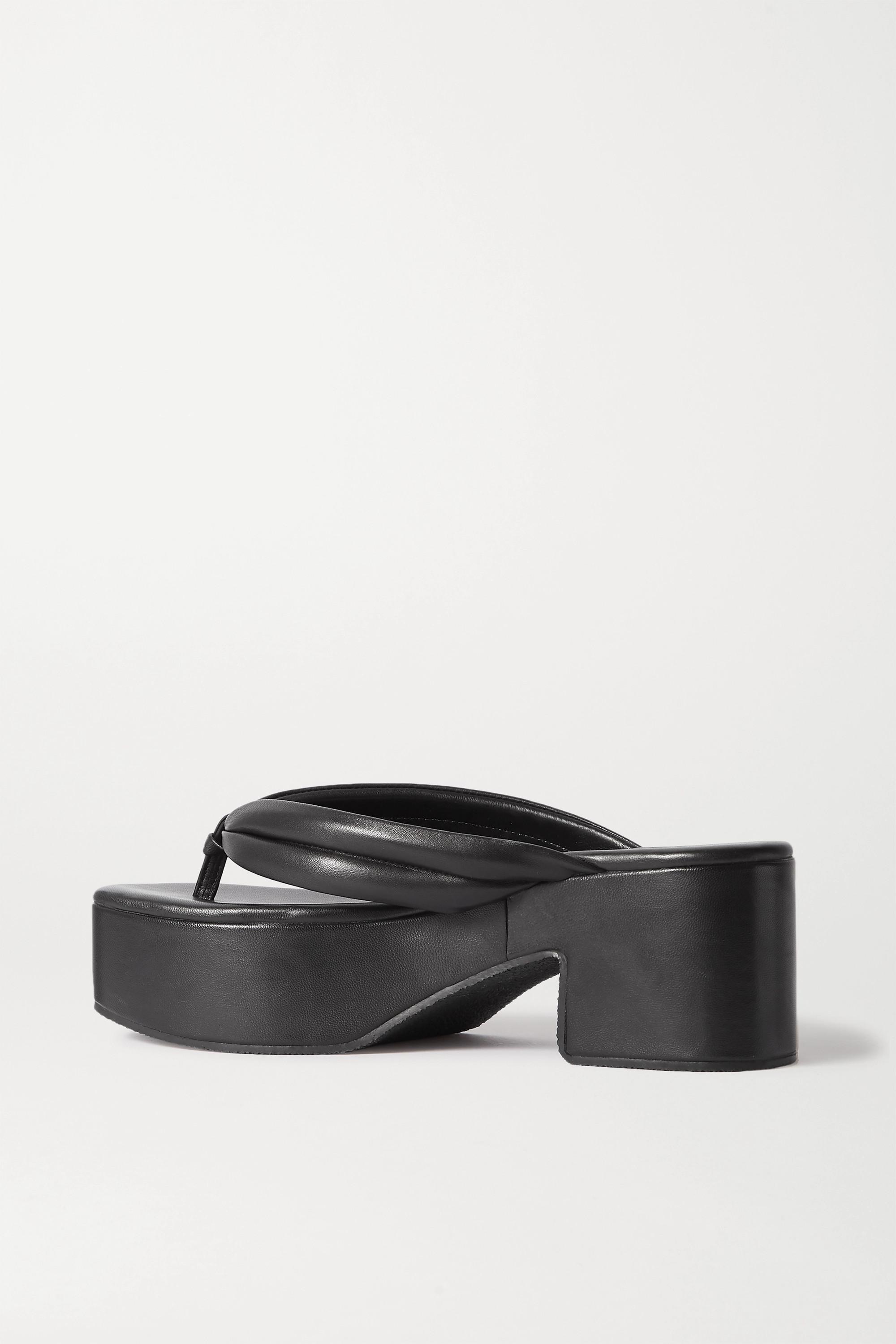 Dries Van Noten Leather platform flip flops