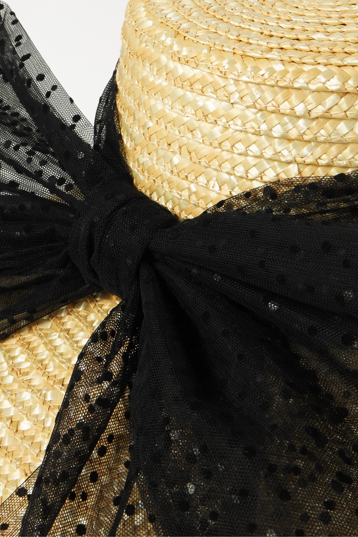 Eugenia Kim Annabelle Swiss-dot tulle-trimmed straw hat