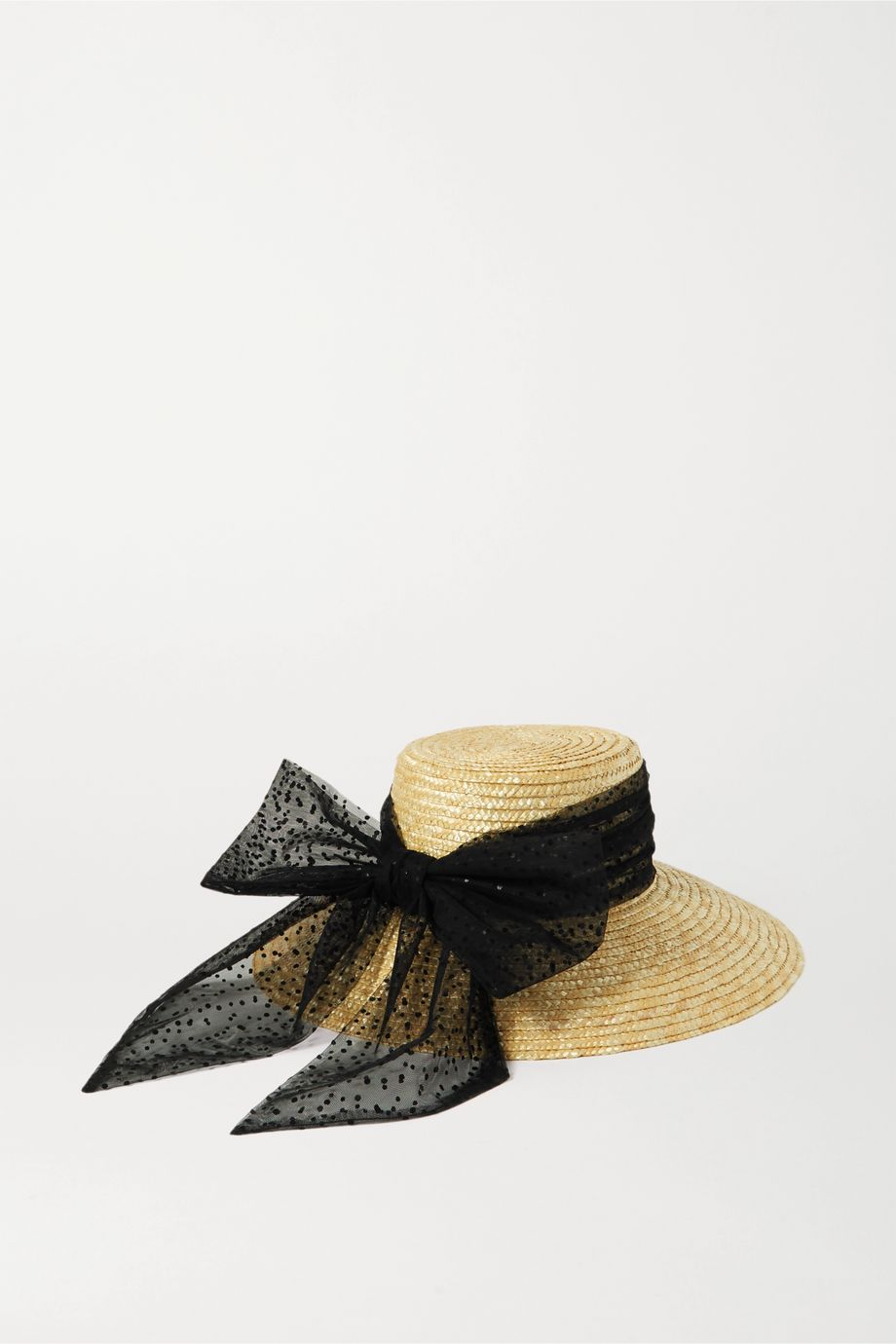 Eugenia Kim Annabelle Swiss-dot tulle-trimmed straw hat