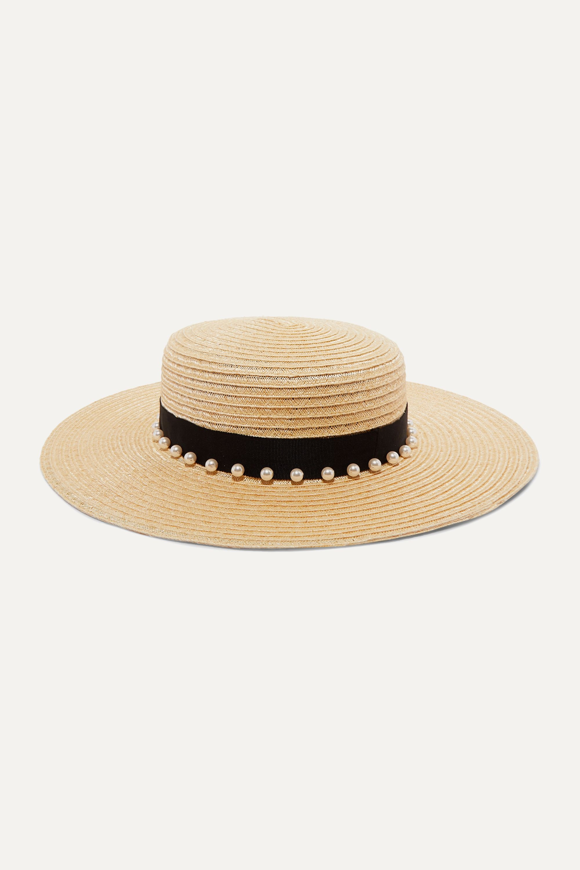 Eugenia Kim Colette faux pearl-embellished grosgrain-trimmed hemp-blend hat