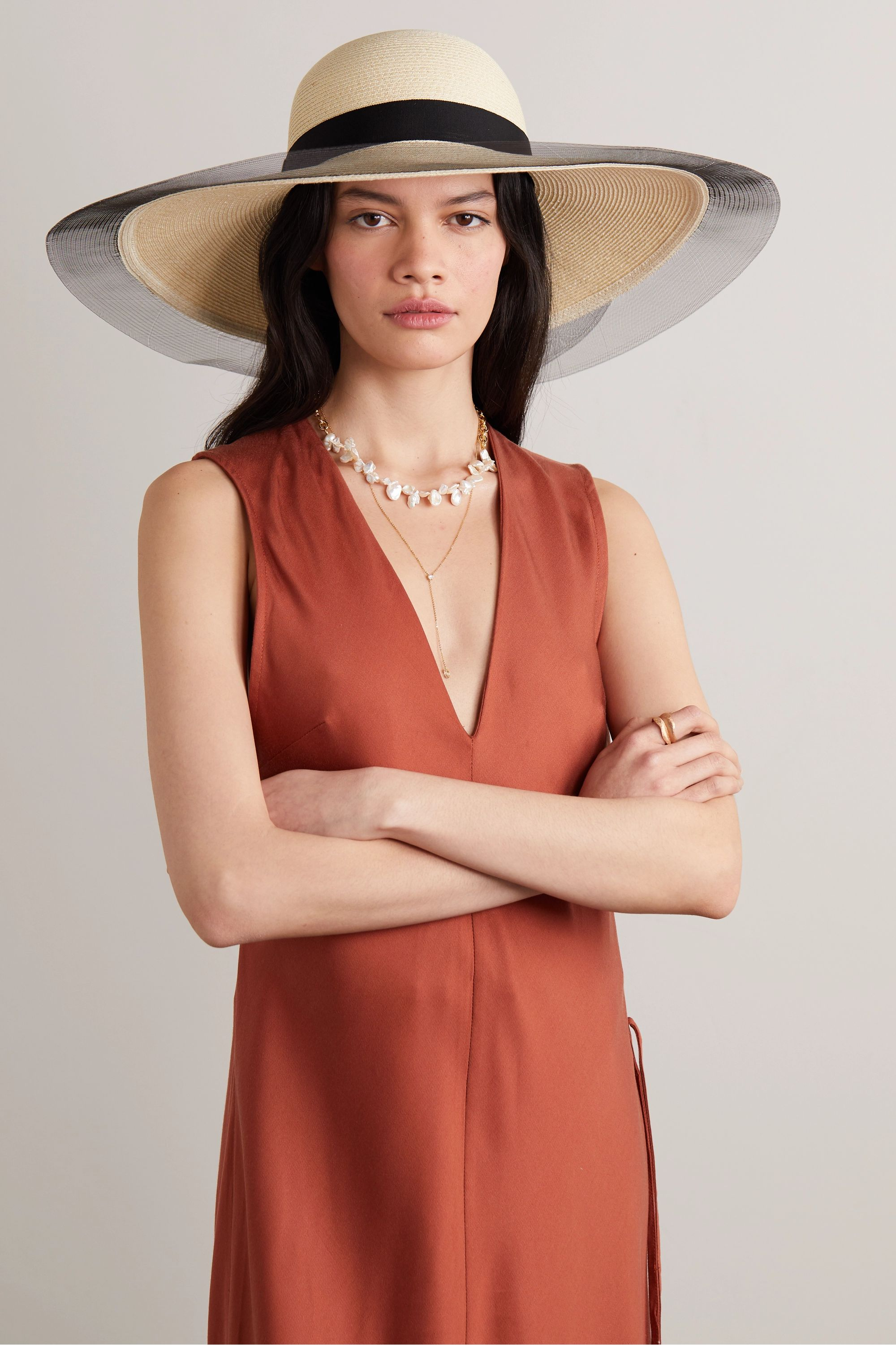 Eugenia Kim Grosgrain and tulle-trimmed straw sunhat