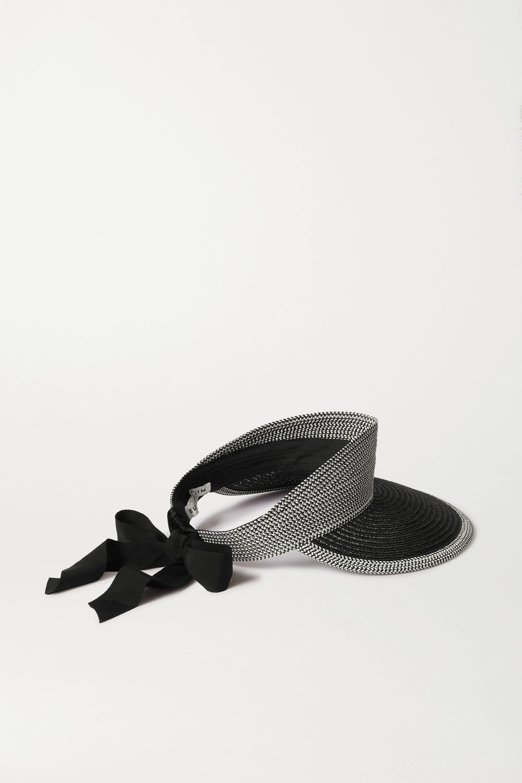 Eugenia Kim Ricky grosgrain-trimmed faux raffia visor