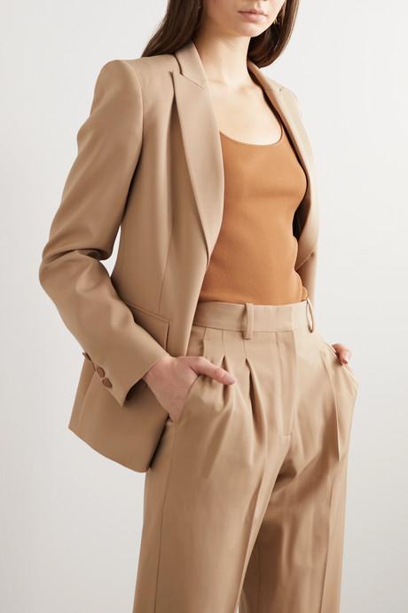 Wool-blend twill blazer