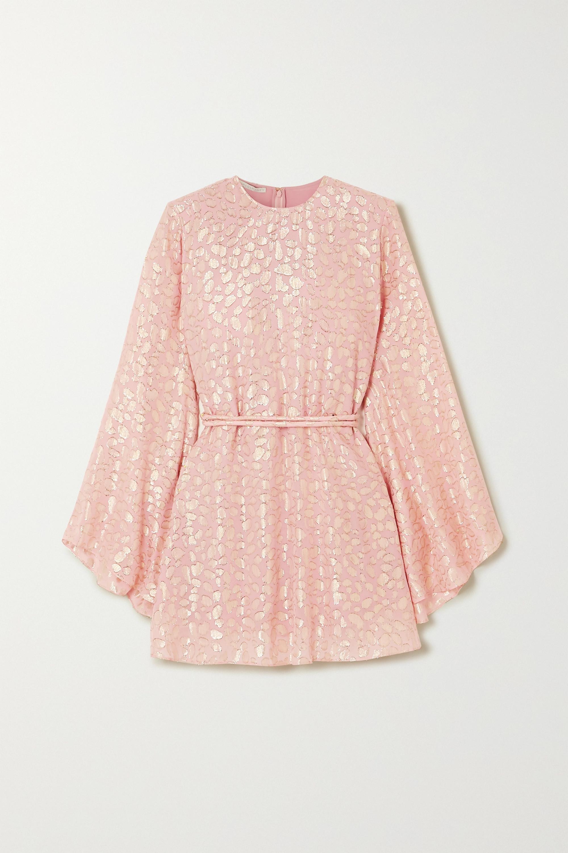 Stella McCartney Belted metallic fil coupé silk-blend mini dress