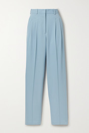 Pleated wool-blend twill straight-leg pants
