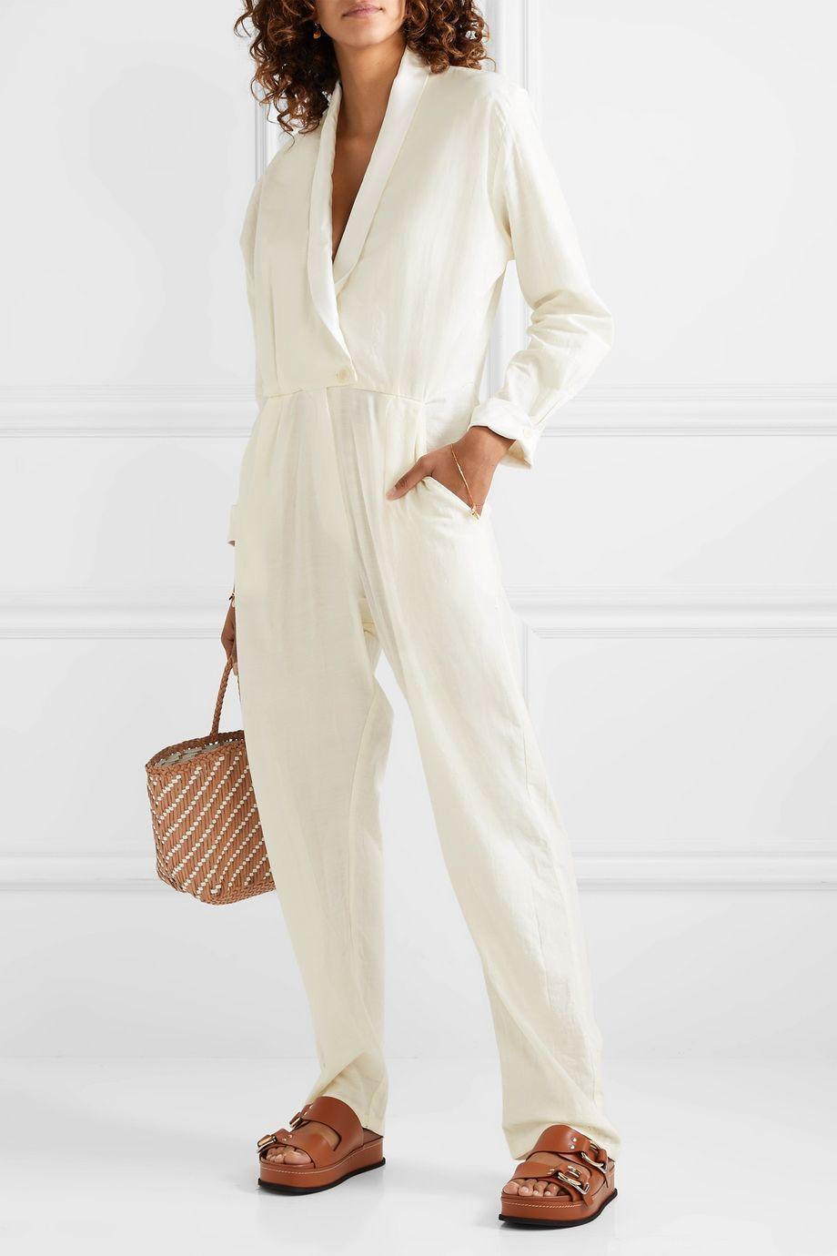 Paradised Jane wrap-effect silk satin-trimmed cotton-blend voile jumpsuit