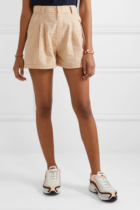 Jamie checked cotton-voile shorts